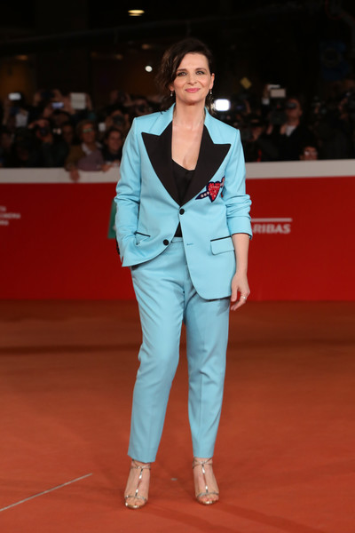 Juliette Binoche Pantsuit [the english patient,clothing,fashion,red carpet,carpet,outerwear,suit,footwear,flooring,pantsuit,human,juliette binoche,rome,italy,red carpet,rome film festival at auditorium parco della musica,rome film festival]