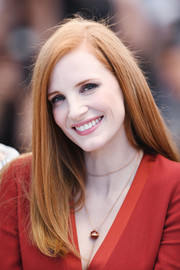 Jessica Chastain looked simply elegant with her side-parted, straight hairstyle at the Cannes Film Festival jury photocall.