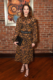 Ruth Wilson donned a leopard-print shirtdress by Alessandra Rich for the 2017 Tribeca Film Festival jury welcome lunch.