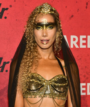 Leona Lewis hit Just Jared's Halloween party wearing metallic face painting.