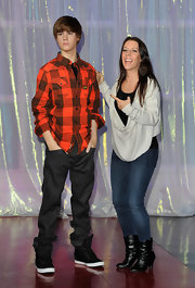 Pattie Mallette finished off her look with a pair of chic slouchy black boots.