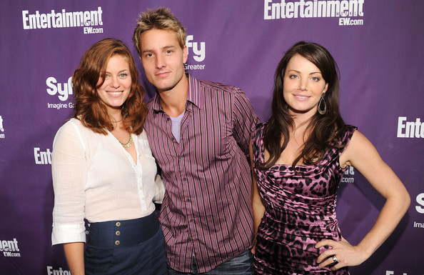 Justin Hartley Button Down Shirt [event,premiere,actors,erica durance,cassidy freeman,justin hartley,syfy celebrate comic-con,l-r,san diego,ew,party,syfy]