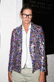 Jenna Lyons looked cool in her colorful sequined jacket while attending the screening of 'The Realest Real.'