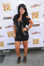 Angelina Pivarnick sparkled in a sequined mini dress at the 'Now 34 and the Jersey Shore' party.