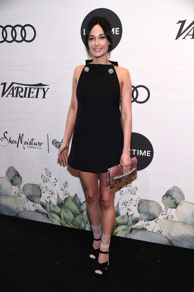Kacey Musgraves Printed Clutch [clothing,dress,black,little black dress,fashion model,fashion,cocktail dress,footwear,leg,shoulder,kacey musgraves,power of women: new york,variety,new york city,cipriani midtown]