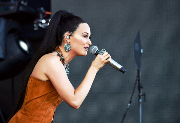 Kacey Musgraves Dangling Turquiose Earrings [singing,entertainment,performance,singer,performing arts,music artist,microphone,song,event,talent show,kacey musgraves,coachella valley music and arts festival,coachella stage,indio,california]