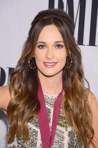 Kacey Musgraves Diamond Hoops [hair,face,hairstyle,eyebrow,brown hair,long hair,hair coloring,blond,layered hair,lip,arrivals,kacey musgraves,awards,bmi country awards,nashville,tennessee,bmi country]