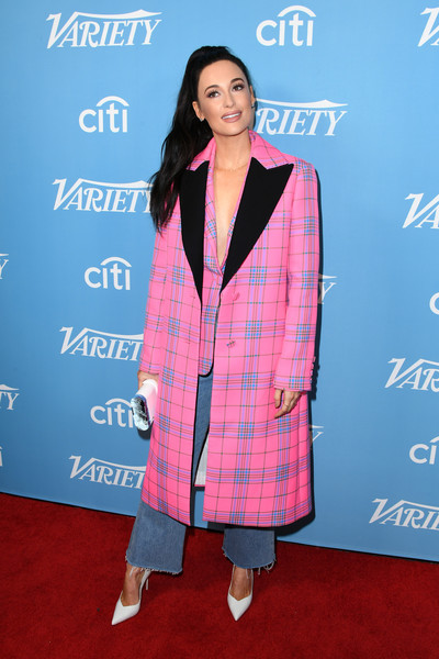 Kacey Musgraves Printed Coat [clothing,outerwear,plaid,pantsuit,design,premiere,tartan,blazer,pattern,carpet,kacey musgraves,hitmakers brunch,soho house,west hollywood,california,2019 variety,2019 varietys hitmakers brunch]