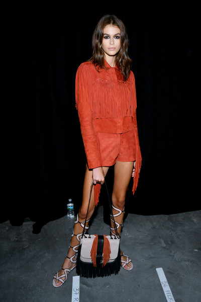 Kaia Gerber Gladiator Sandals [fashion model,fashion,orange,clothing,fashion show,footwear,shoulder,fashion design,joint,human,kaia gerber,longchamp spring,new york city,world trade center,summer 2019 runway show]