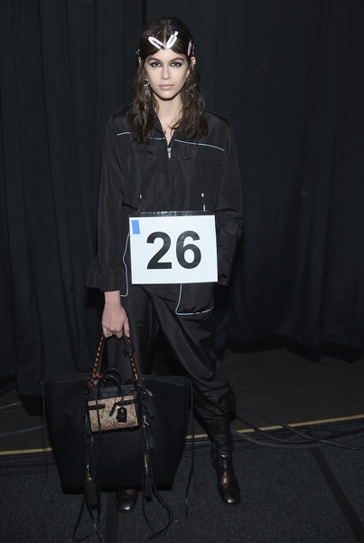 Kaia Gerber Tasseled Tote [coach,kaia jordan gerber,eyewear,fashion,fashion accessory,vision care,sunglasses,outerwear,t shirt,jacket,textile,cool,new york fashion week,new york city,basketball city]