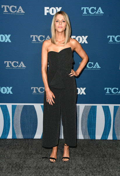 Kaitlin Olson Strappy Sandals [clothing,dress,shoulder,electric blue,carpet,premiere,footwear,event,cocktail dress,long hair,winter tca,all-star party - arrivals,kaitlin olson,pasadena,california,the langham huntington,fox,fox all-star party,winter tca tour]