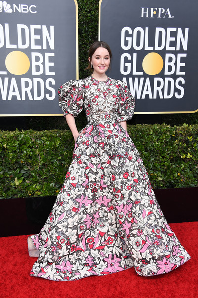 Kaitlyn Dever Embroidered Dress [red carpet,clothing,dress,carpet,premiere,fashion,flooring,gown,pattern,event,arrivals,kaitlyn dever,the beverly hilton hotel,beverly hills,california,golden globe awards,red carpet,pattern m,carpet,red,gown,watch,science,interview]