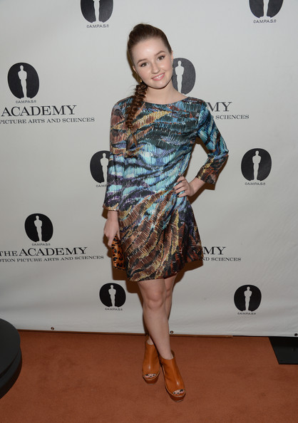 Kaitlyn Dever Print Dress [short term 12,clothing,red carpet,dress,shoulder,carpet,hairstyle,fashion,cocktail dress,fashion model,joint,kaitlyn dever,pickford center for motion study,california,hollywood,linwood dunn theater,academy of motion picture arts and sciences,sneak preview screening,sneak preview screening of short term 12]