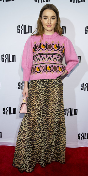 Kaitlyn Dever Crewneck Sweater [booksmart,clothing,fashion,red carpet,premiere,dress,carpet,flooring,footwear,crop top,pattern,kaitlyn dever,castro theatre,san francisco,california,san francisco international film festival,red carpet premiere]