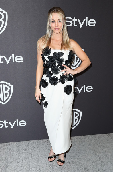 Kaley Cuoco Strapless Dress [fashion model,clothing,white,dress,shoulder,black-and-white,fashion,hairstyle,carpet,cocktail dress,kaley cuoco,beverly hills,california,the beverly hilton hotel,instyle,golden globes,warner bros.,arrivals,party]