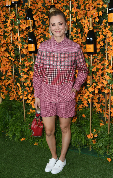 Kaley Cuoco Dress Shorts [clothing,orange,fashion,footwear,leaf,spring,shoe,plant,pattern,autumn,arrivals,kaley cuoco,los angeles,pacific palisades,california,will rogers state historic park,veuve clicquot polo classic]