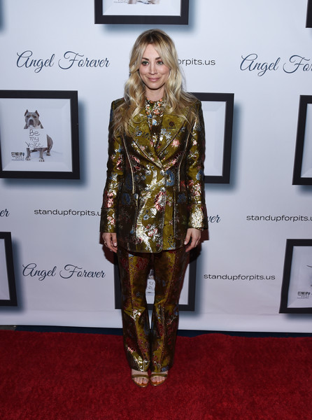 Kaley Cuoco Pantsuit [kaley cuoco hosts 9th annual stand up for pits,kaley cuoco,clothing,carpet,fashion,red carpet,yellow,footwear,flooring,dress,fashion design,premiere,event,9th annual stand up for pits,california,los angeles,the mayan]