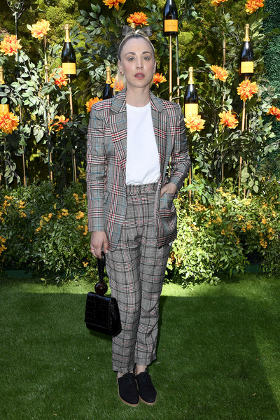 Kaley Cuoco Leather Wristlet [clothing,fashion,spring,outerwear,pantsuit,plant,garden,blazer,trousers,shoe,arrivals,kaley cuoco,los angeles,pacific palisades,california,will rogers state historic park,veuve clicquot polo classic]