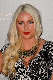 Charlie Hedges looked like a goddess with her platinum blonde waves during the Kardashian Kollection for Lipsy launch.