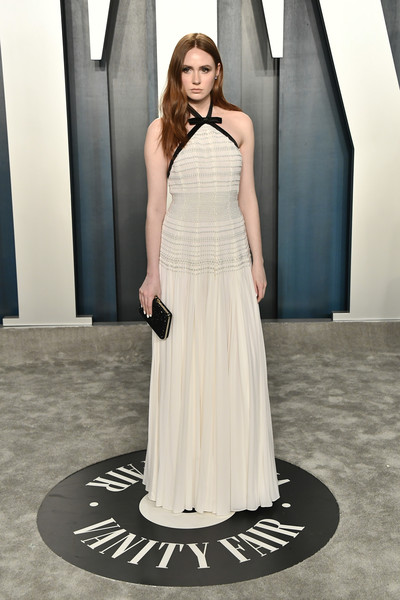 Karen Gillan Halter Dress [fashion model,dress,clothing,gown,shoulder,white,fashion,bridal party dress,lady,photo shoot,radhika jones - arrivals,radhika jones,karen gillan,beverly hills,california,wallis annenberg center for the performing arts,oscar party,vanity fair,radhika jones,wallis annenberg center for the performing arts,oscar party,vanity fair,academy awards,celebrity,hollywood,party,photograph]