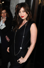 Daisy Lowe adorned her black outfit with a long silver chain necklace for the Karl Lagerfeld store launch.