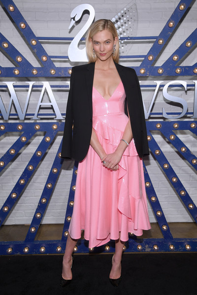 Karlie Kloss Cocktail Dress [clothing,pink,fashion,dress,costume,fashion design,red carpet,photography,flooring,cosplay,karlie kloss,swarovski,brands,new york city,store,hudson mercantile,swarovski times square celebration,swarovskis times square celebration]