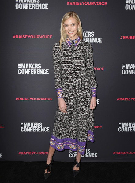 Karlie Kloss Print Blouse [clothing,dress,premiere,fashion,fashion model,footwear,carpet,fashion design,eyewear,event,karlie kloss,neuehouse hollywood,los angeles,california,2018 makers conference,makers conference]