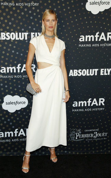 Karolina Kurkova Evening Sandals [dress,clothing,white,shoulder,fashion model,cocktail dress,fashion,premiere,hairstyle,carpet,arrivals,karolina kurkova,san francisco,california,amfar hosts inaugural celebrity poker tournament,amfar inaugural celebrity poker tournament]