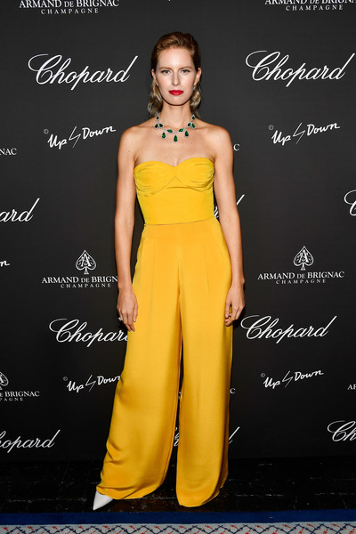 Karolina Kurkova Jumpsuit [yellow,clothing,fashion model,dress,fashion,shoulder,formal wear,waist,haute couture,gown,chopard,creatures of the night late-night soiree,the setai miami beach,florida,champagne armand de brignac,karolina kurkova]