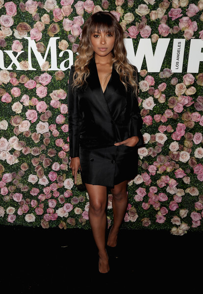 Kat Graham Tuxedo Dress [2017 women in film max mara face of the future award,clothing,pink,dress,fashion,spring,fashion model,outerwear,cocktail dress,formal wear,flooring,arrivals,kat graham,max mara celebrates zoey deutch,recipient,the 2017 women in film max mara face of the future award recipient,zoey deutch,chateau marmont,california,max mara celebration]