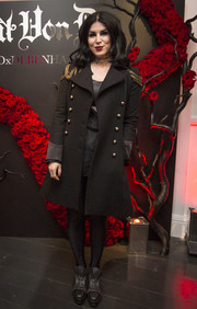 Kat Von D attended a beauty launch looking tough in a black military coat.