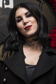 Kat Von D sported a bouffant-style 'do while attending a beauty launch.