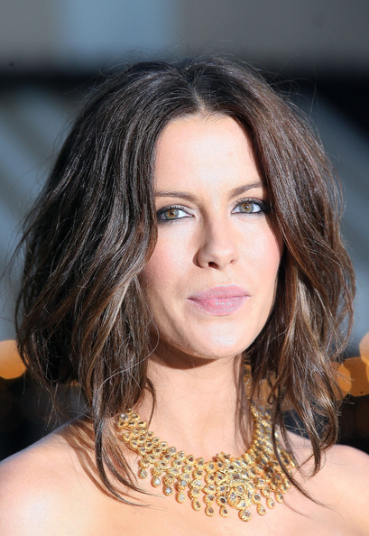 Kate Beckinsale Diamond Statement Necklace [whiteout,hair,face,hairstyle,eyebrow,shoulder,chin,lip,beauty,brown hair,long hair,arrivals,kate beckinsale,westwood,california,los angeles,warner bros,premiere,premiere]