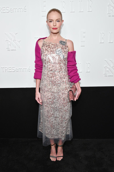 Kate Bosworth Evening Sandals [a celebration of personal style,fashion model,flooring,pink,fashion,dress,cocktail dress,shoulder,fashion show,carpet,girl,host,kate bosworth,tresemme - arrivals,new york city,elle,e,nyfw kickoff party,tresemme]