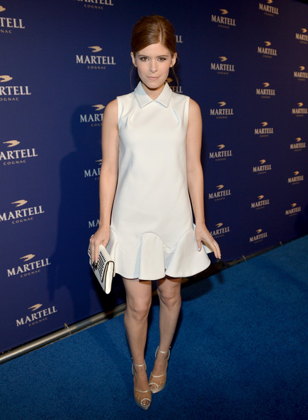 Kate Mara Platform Sandals [clothing,white,dress,fashion model,cocktail dress,fashion,hairstyle,carpet,red carpet,footwear,kate mara,martell caractere,martell\u00e2,martell caract\u00e3,cognac expression,paramour mansion,california,los angeles,launch event,launch]