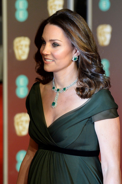 Kate Middleton Gemstone Chandelier Necklace [hair,hairstyle,shoulder,lady,beauty,long hair,dress,black hair,brown hair,cocktail dress,red carpet arrivals,catherine,duchess,ee,cambridge,england,london,royal albert hall,british academy film awards]