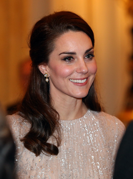 Kate Middleton Pearl Drop Earrings [hair,eyebrow,beauty,fashion model,hairstyle,human hair color,chin,forehead,long hair,smile,guests,catherine,duchess,cambridge,uk,england,london,queen launches 2017 india year of culture,reception,launch]