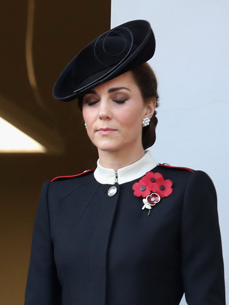 Kate Middleton Decorative Hat [armistice,clothing,fashion,hat,fashion accessory,headgear,lip,formal wear,collar,uniform,black hair,catherine,wreaths,the cenotaph on remembrance,duchess,memorial,cambridge,germany,allies,remembrance sunday]