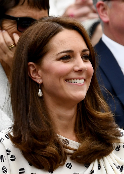 Kate Middleton Long Side Part [hair,hairstyle,eyebrow,long hair,brown hair,chin,layered hair,hair coloring,smile,feathered hair,catherine,duchess,wimbledon,cambridge,england,london,all england lawn tennis and croquet club,wimbledon lawn tennis championships]
