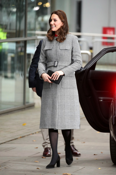 Kate Middleton Printed Coat [stepping out,clothing,street fashion,photograph,lady,fashion,snapshot,coat,outerwear,tights,standing,attend,duke,duchess of cambridge,children,media city,duchess,focus group,session,session]