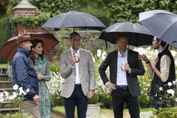 Kate Middleton Prince William The Duke and Duchess of Cambridge and Prince Harry Visit the White Garden in Kensington Palace