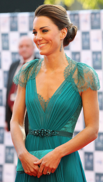 Kate Middleton Loose Bun [clothing,shoulder,dress,turquoise,cocktail dress,aqua,lady,beauty,hairstyle,a-line,catherine,duchess,cambridge,england,london,royal albert hall,boa,our greatest team rises,olympic concert]