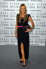 Anna dello Russo was summer-chic in a sleeveless black maxi dress by Fendi during the Stuart Weitzman flagship store opening.