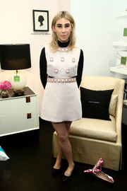 Zosia Mamet went for retro cuteness in a stone-embellished ivory mini dress at the Kate Spade New York Housewarming event.