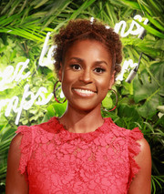 Issa Rae looked cute with her curly updo at the Kate Spade presentation.