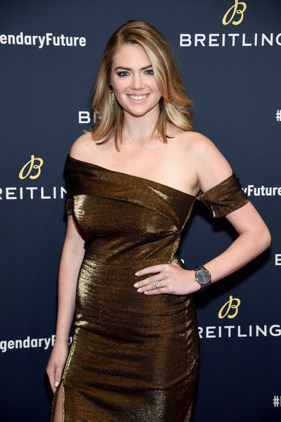 Kate Upton Oversized Watch [dress,shoulder,clothing,strapless dress,hairstyle,joint,cocktail dress,blond,premiere,long hair,kate upton,legendaryfuture,red carpet,new york,legendaryfuture roadshow,breitling]