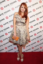 Debby Ryan chose this watercolor-print strapless frock for a fun and flirty retro-inspired red carpet look.