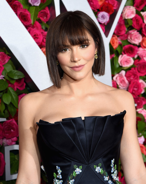 Katharine McPhee Bob [red carpet,hair,clothing,lady,hairstyle,beauty,pink,dress,bangs,shoulder,lip,katharine mcphee,tony awards,radio city music hall,new york city,annual tony awards]