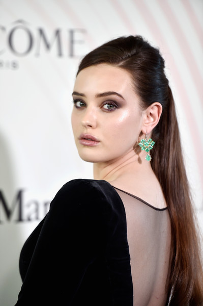 Katherine Langford Ponytail [hair,face,hairstyle,eyebrow,beauty,shoulder,lip,chin,long hair,ear,lancome - arrivals,women in film 2018 crystal lucy awards,katherine langford,the beverly hilton hotel,california,beverly hills,max mara,lanc\u00f4me,lexus]