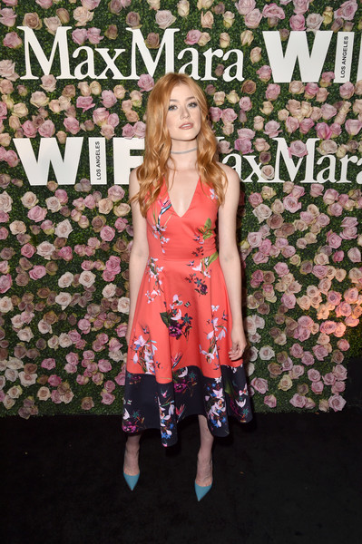 Katherine McNamara Print Dress [max mara celebrates zoey deutch,the 2017 women in film max mara face of the future,katherine mcnamara,clothing,dress,pink,premiere,fashion,footwear,carpet,flooring,fashion design,long hair,chateau marmont,california,los angeles]